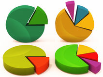Pie charts business. Different pie charts for any business, 3d remders in different colors and angles vector illustration