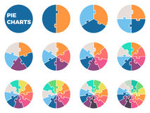 Pie charts for infographics. Diagrams with 1 - 12 parts. Vector design element Royalty Free Stock Photo
