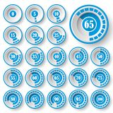 Set of pie charts for web design.Progress bar for business infographics.3d infographic elements.Blue and white style. Pie charts for infographics.Set of circle Vector Illustration