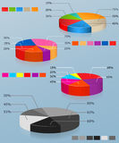 Pie charts. Set of of multi-colored pie chart. Bus Royalty Free Stock Images