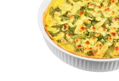 Pie with cheese, asparagus and herbs Royalty Free Stock Photography