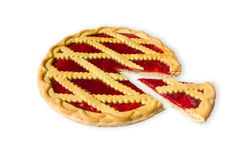 Pie with cherry jam Stock Photos