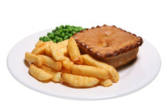 Pie, Chips and Peas. Meat pie, crinkle-cut chips and garden peas isolated on white Royalty Free Stock Photo