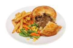 Pie chips and veg Stock Images