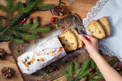 Pie on Christmas Day on a wooden table. Top shot of pie on Christmas Day on a wooden table royalty free stock photo