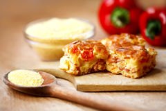 Pie with corn flour and fresh pepper Royalty Free Stock Images