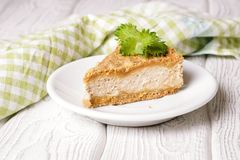 Pie with cottage cheese cream and streusel Royalty Free Stock Image