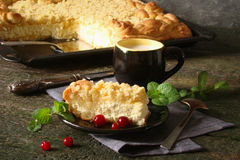 Pie with cottage cheese and strategem Stock Images