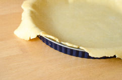 Pie crust in form. A rolled pie crust in a pie form royalty free stock photography