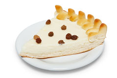 Pie with curds on saucer Royalty Free Stock Photos