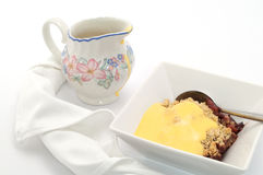 Pie and Custard Dessert Stock Photo