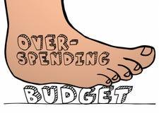 Pie de dilapidación del presupuesto que pisa fuerte machacando palabra ilustración del vector
