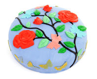 Pie decorated with flowers and butterfly Royalty Free Stock Image