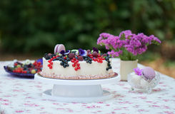 Pie decorated with fresh berries. Against a flowers and macarons Stock Image