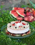 Pie decorated with fresh berries Stock Photography