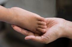 Pie del bebé en la mano de la mujer, concepto del padre Fotos de archivo