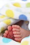 Pie del bebé en manta Fotografía de archivo