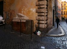 Pie` di Marmo garbage under ancient Roman Monument Royalty Free Stock Photos