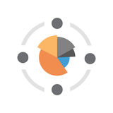 Pie Diagram Icon Colorful Financial Business Chart. Flat Vector Illustration Stock Photography