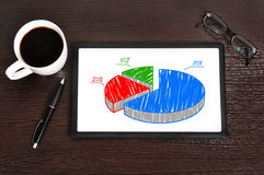 Pie diagram on touchpad Royalty Free Stock Photo
