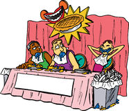 Pie Eating Contest. Skinny man wins pie eating contest royalty free illustration