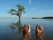 Pie en el río Foto de archivo libre de regalías