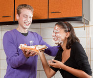 Pie fight Royalty Free Stock Image