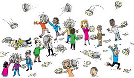 Pie Fight. A group of cartoon people fight with cream pies Stock Photography
