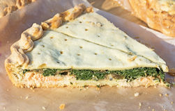 Pie with fish and spinach. Royalty Free Stock Photo