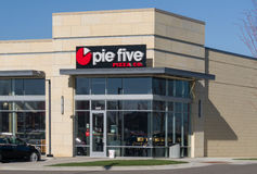 Pie Five Restaurant Exterior and Logo Stock Photography