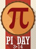 Pie in Flat Design with Long Shadow for Pi Day, Vector Illustration. Poster in flat style and long shadow effect with a pie sliced like Pi symbol to celebrate Pi vector illustration