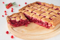 Pie with fresh red currants Royalty Free Stock Photo