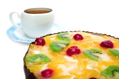 Pie fruit with cottage cheese and cup with saucer Royalty Free Stock Photography