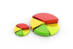 Pie graph. 3d rendering of pie graph in  background Royalty Free Stock Photography