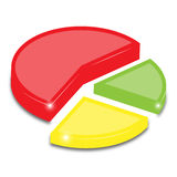 Pie Graph. 3D shiny pie graph with little stars Stock Photography