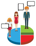 A pie graph with people Stock Image