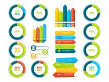 Pie graphs, vertical and horizontal arrows. Infographic elements. Chart and graph, arrow diagram and step graphic, vector illustration Royalty Free Stock Photos
