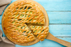 Pie with greens, cheese and eggs Royalty Free Stock Photos