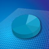 Pie grid. A pie chart in blue on a white grid for business use royalty free illustration