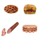 Pie, hamburger, sausage and cake Stock Photography