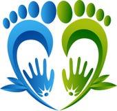 Pie herbario que da masajes al logotipo ilustración del vector