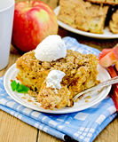 Pie with ice cream and fork on chalkboard Royalty Free Stock Images