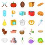 Pie icons set, cartoon style Stock Photos