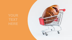 Pie with jam in shopping cart Royalty Free Stock Images