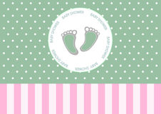 Pie lindo en tarjeta de felicitación, diseño del bebé de tarjetas de la fiesta de bienvenida al bebé Fotos de archivo libres de regalías