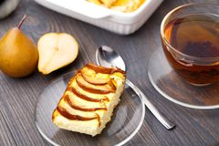 Pie made with fresh pears royalty free stock photo