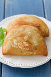 Pie with meat with basil on white plate Royalty Free Stock Photography