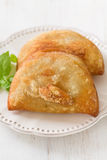 Pie with meat with basil on white plate Stock Image