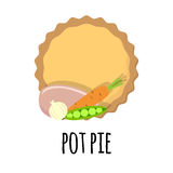 Pie with meat filling stock illustration