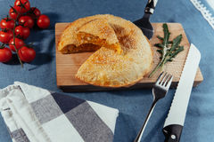 Pie with meat, homemade cakes. Advertising shooting menu. Stock Photography